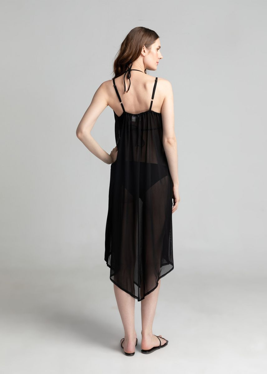 Black color Beachwear/Swimwear . Belle Asymmetric Cover Up Dress -
