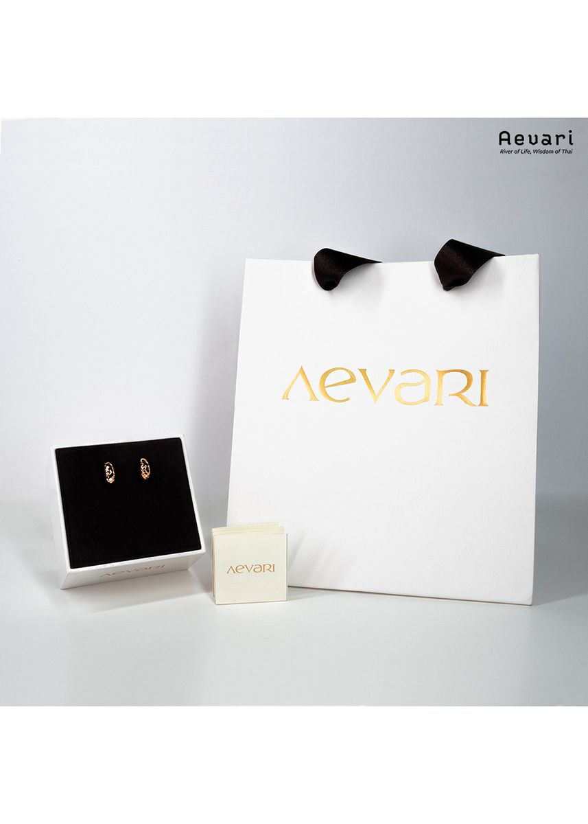 ชมพู color  . Aevari Candle Flame Rose Gold Earring -