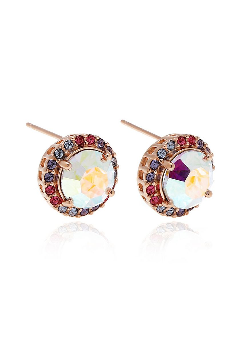 Gold color  . Aevari Crispy Ruby with Boreale Crystal and Multi Color Crystal Earring -