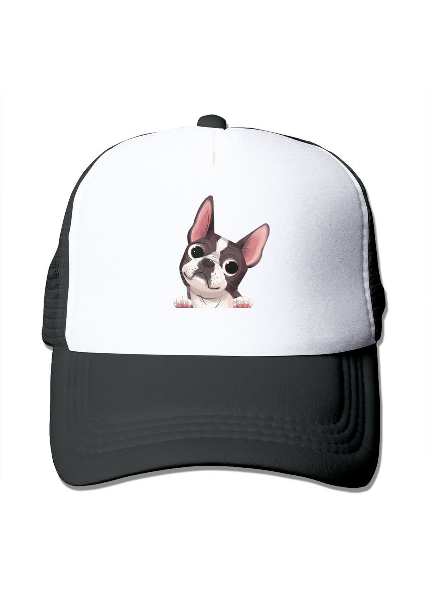 ดำ color  . Boston Terrier Mesh Trucker Fashion Active Dome Cap -