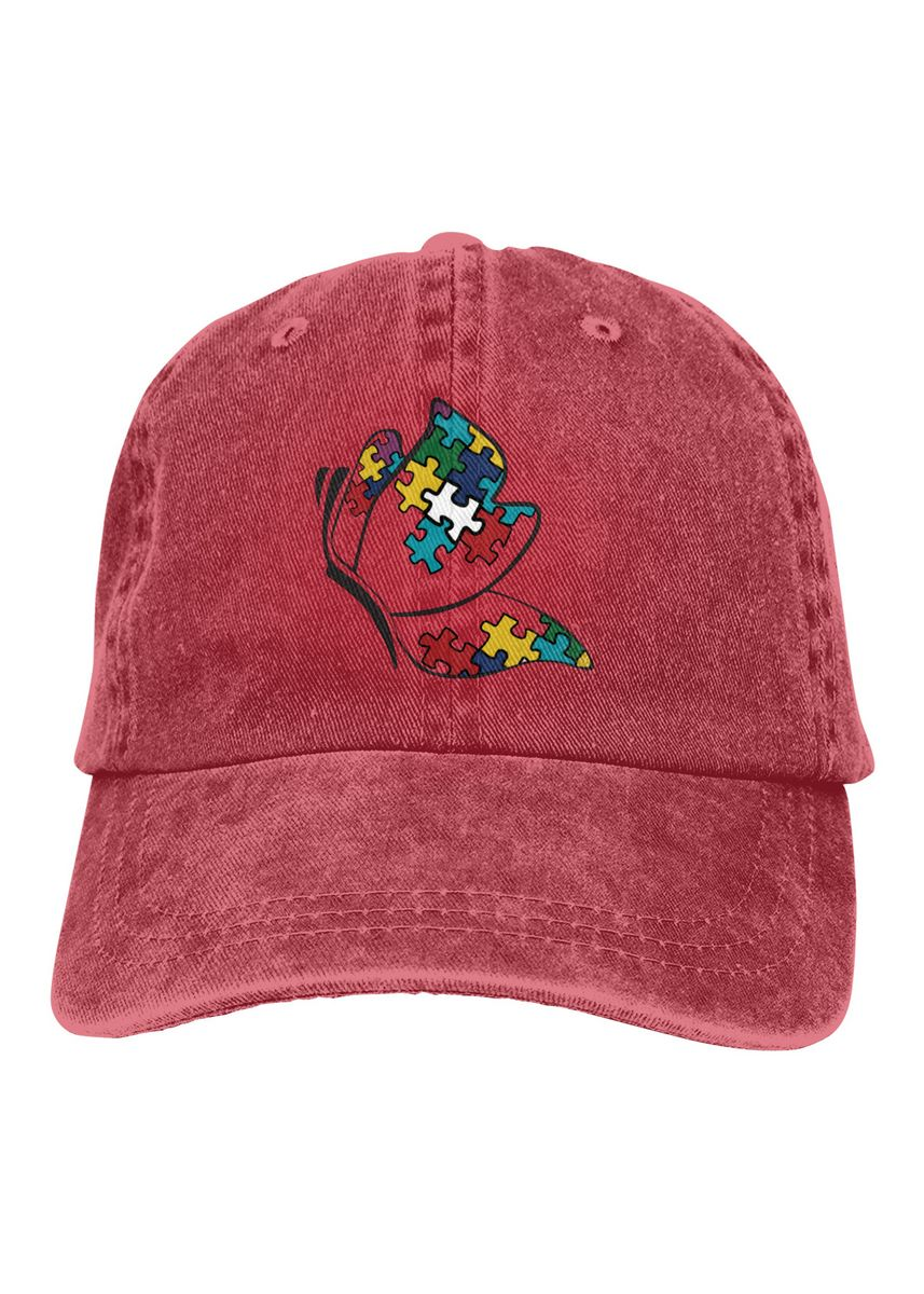 Red color  . Autism Butterfly Logo Unisex Denim Baseball Caps -