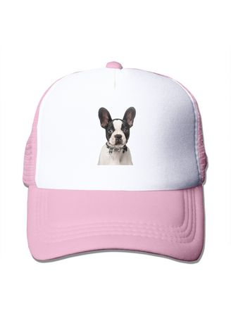 Pink color  . Cute Boston Terrier Puppy Mesh Trucker Cap -