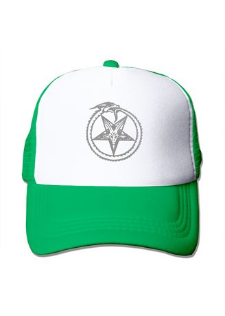 เขียว color  . Grey Snake Circle Pentagram Satan Mesh Trucker Cap -
