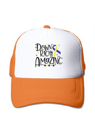 ส้ม color  . Down Syndrome Awareness Down Right Amazing Mesh Trucker Cap -