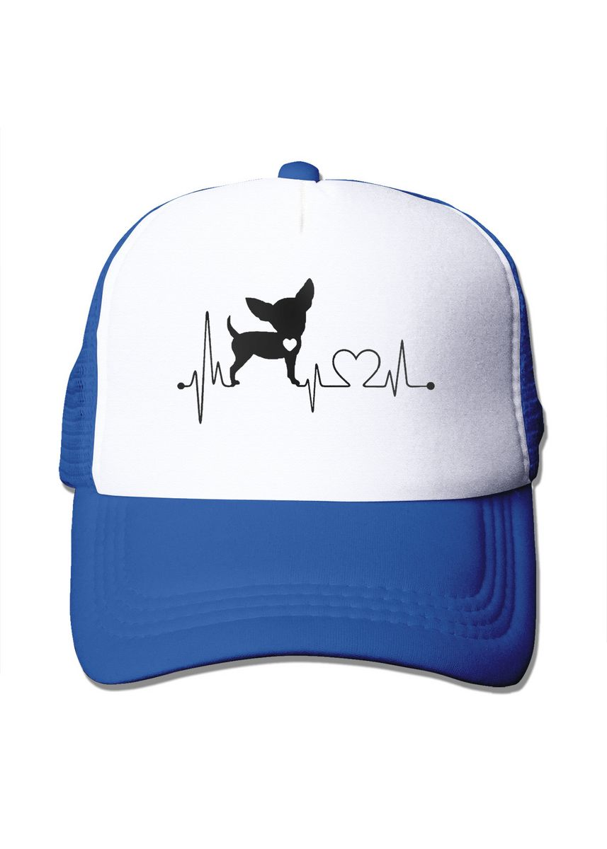 ฟ้า color  . Cute Dog Heartbeat Mesh Trucker Cap -