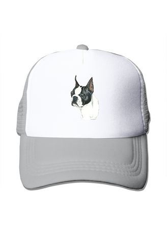 Light Grey color  . Boston Terrier Mesh Trucker Fashion Active Dome Hats -