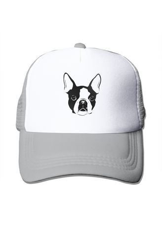 Light Grey color  . Boston Terrier Mesh Trucker Unisex Sport Fans Cap -