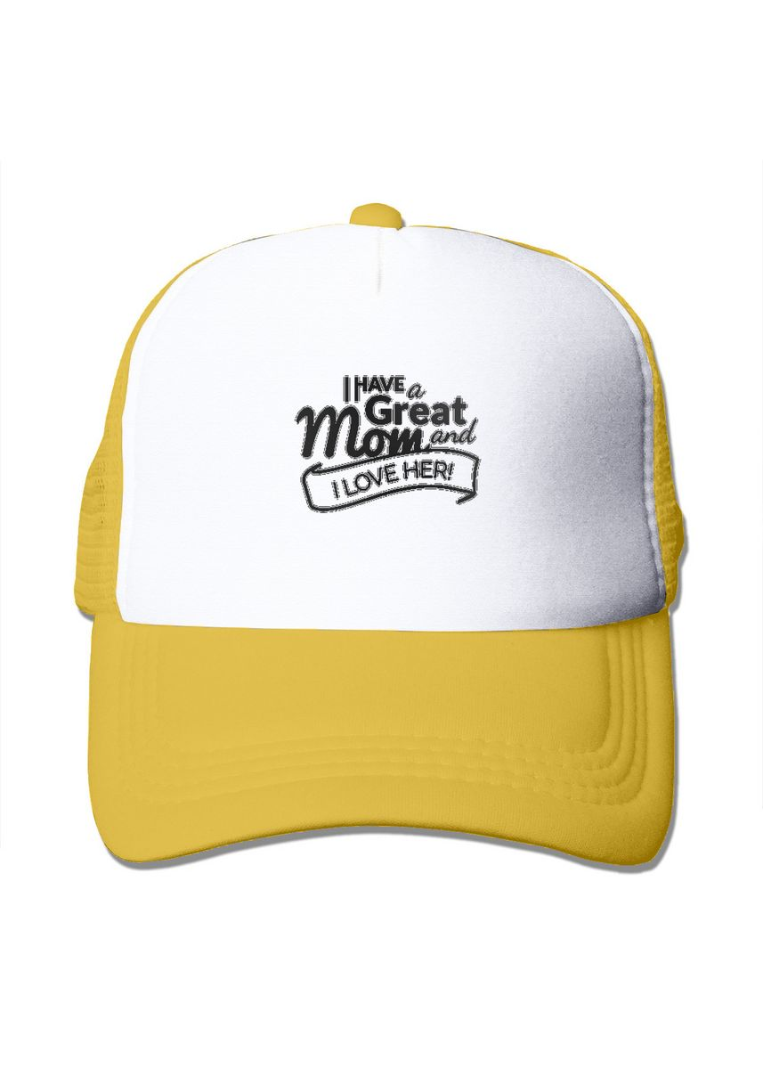 Yellow color  . Mothers Day Quote I Love Mom Mesh Trucker Cap -
