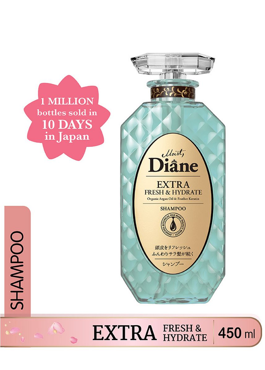 Blue color Shampoos & Conditioner . Moist Diane Extra Fresh and Hydrate Shampoo 450ML (Made in Japan) -