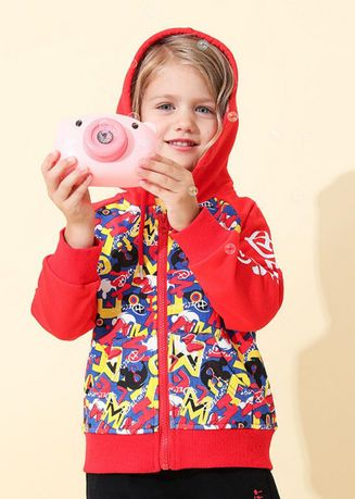 แดง color แจ็คเก็ต . Zipper Cardigan Long-sleeved Loose Children's Jacket -