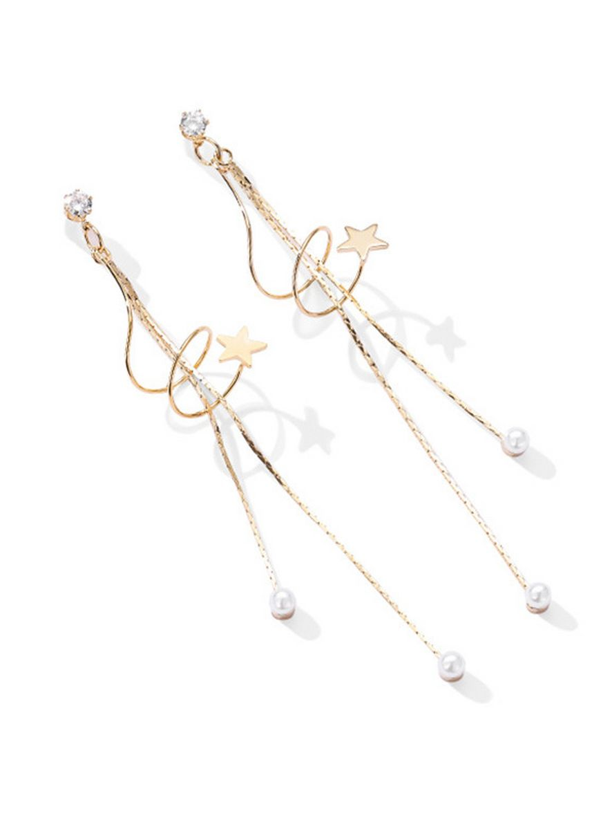 Gold color  . Fringed Pearl Twine Long Simple Earrings -