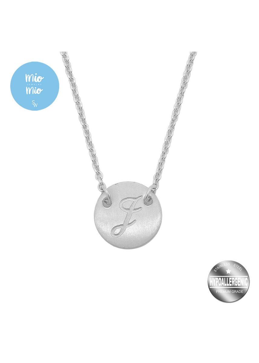 Grey color  . Mio Mio by Silverworks Engraved Letter I Pendant in Rolo Chain Necklace  -
