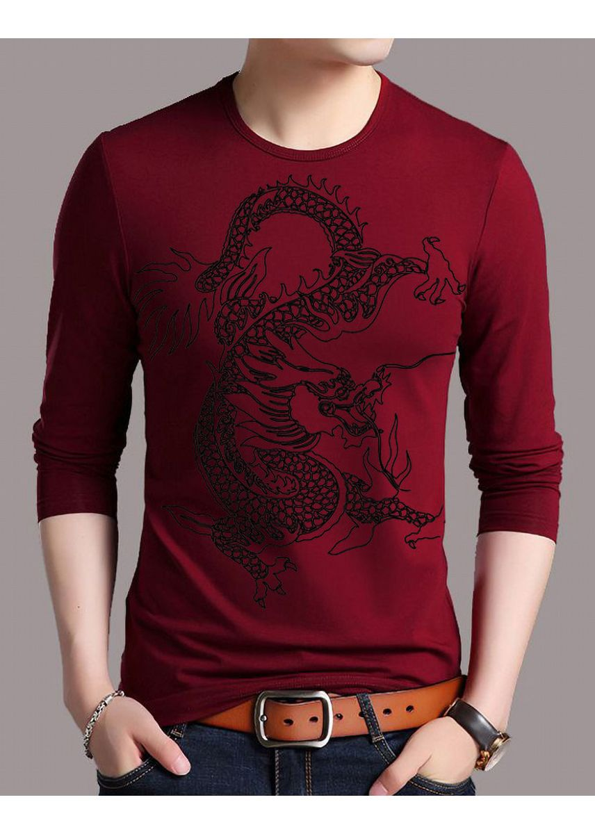 Red color T-Shirts and Polos . Pure Cotton Men's Dragon Print Long-sleeved Korean T-shirt -
