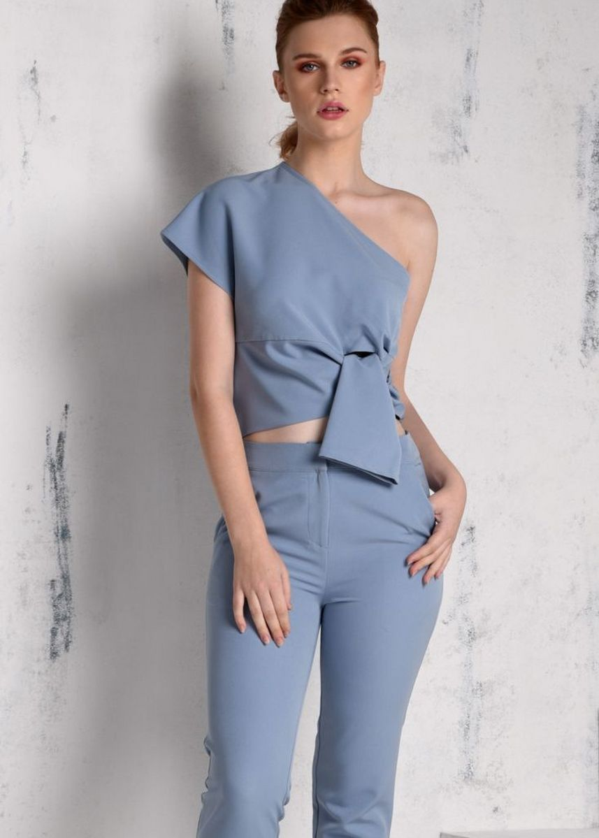 Light Blue color Tops and Tunics . RAF Rich Short Sleeves Top -