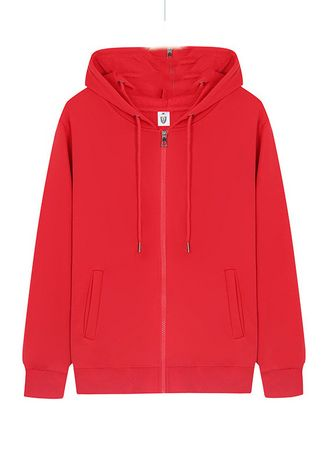 Red color Jackets . Winter Long-sleeved Cardigan Zipper Hooded Sweatshirt -