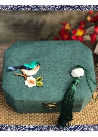 Multi color Storage . Cute Bird Double Layer Chinese Style Jewelry Storage Box -