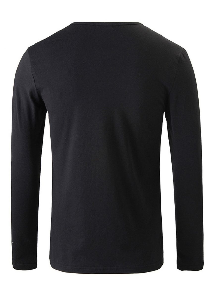 Black color T-Shirts and Polos . Autumn Men's Long-sleeved Korean Style Slim T-shirt -