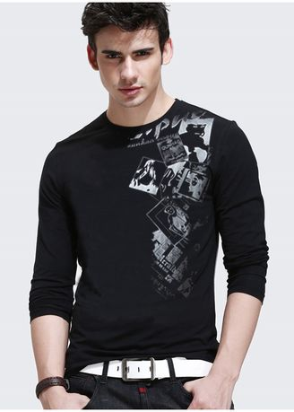 Black color T-Shirts and Polos . Autumn Men's Long-sleeved Korean Style Slim Round Neck Fashion T-shirt -