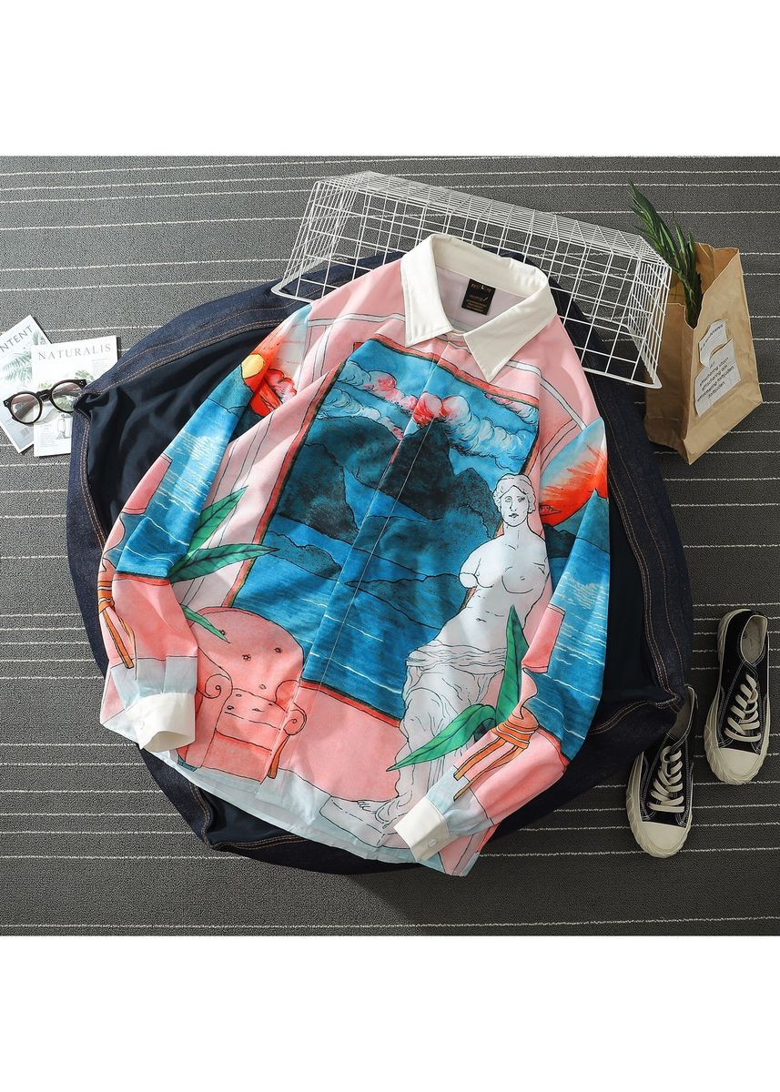 Multi color Casual Shirts . Japanese Retro Fashion Casual Loose Lapel Floral Shirt -