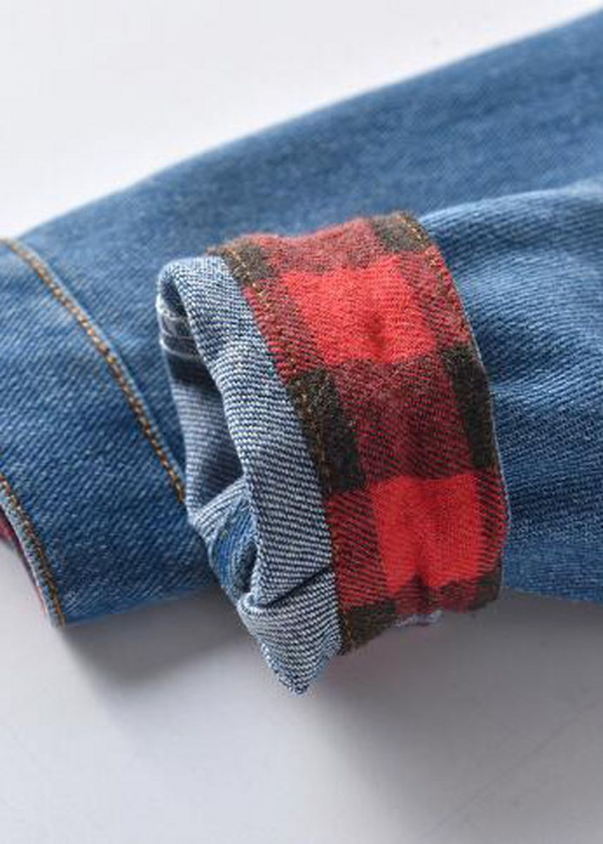 Blue color Sets . New Long-sleeved Cardigan Plaid Stitching Denim Jacket -