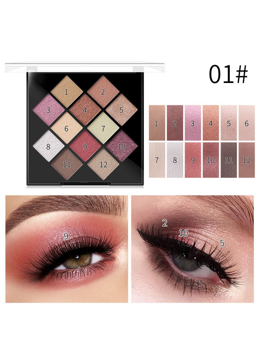 Multi color Eyes . Frosted Firework Grand Spectacle Eyeshadow Palette Collection x 12 -
