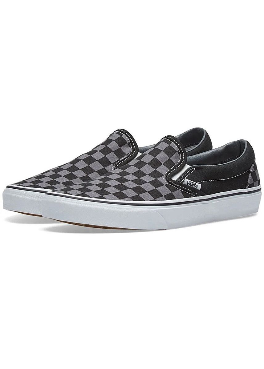 Grey color Casual Shoes . Vans รองเท้า Classic Slip-On รุ่น VN000EYEBPJ (Black/Pewter Checkerboard) -