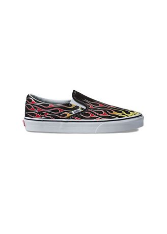 Casual Shoes . Vans รองเท้า Classic Slip-On Mash Up Flames รุ่น VN0A38F7VKJ -