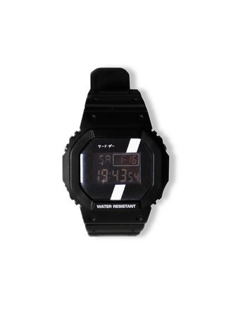 Black color Digital . Third Day AMB44 Jam Tangan Pria Anti Air Digital Hitam Stripe Putih Katakana -