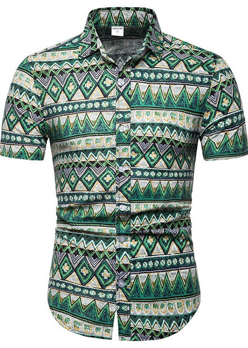Green color Casual Shirts . Slim Fashion Ethnic Printed Floral Men's Short-sleeved Shirt -