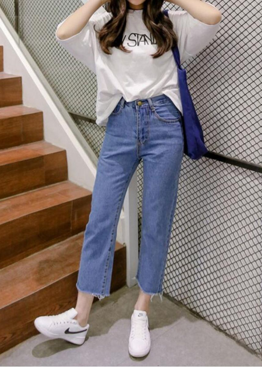 Blue color Jeans . Solid Fashion High Waist Loose Jeans -