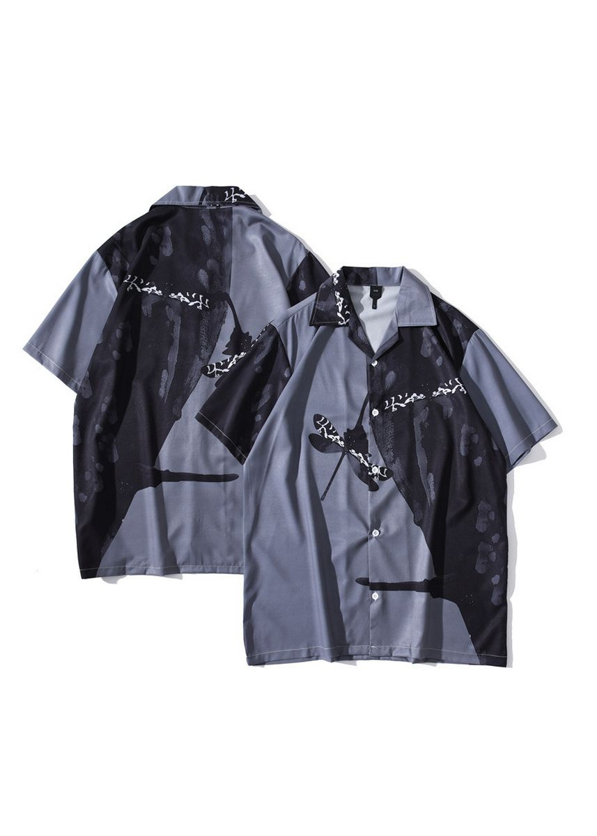 Multi color Casual Shirts . Vintage oil Painting Hawaiian Short-sleeved Men's Flower Shirt -