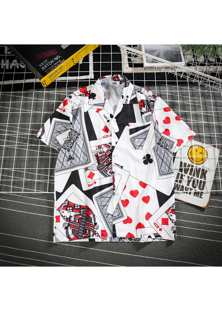 Multi color Casual Shirts . Beach Vacation Chic Personality Full OF Playing Cards Printed Shirt -