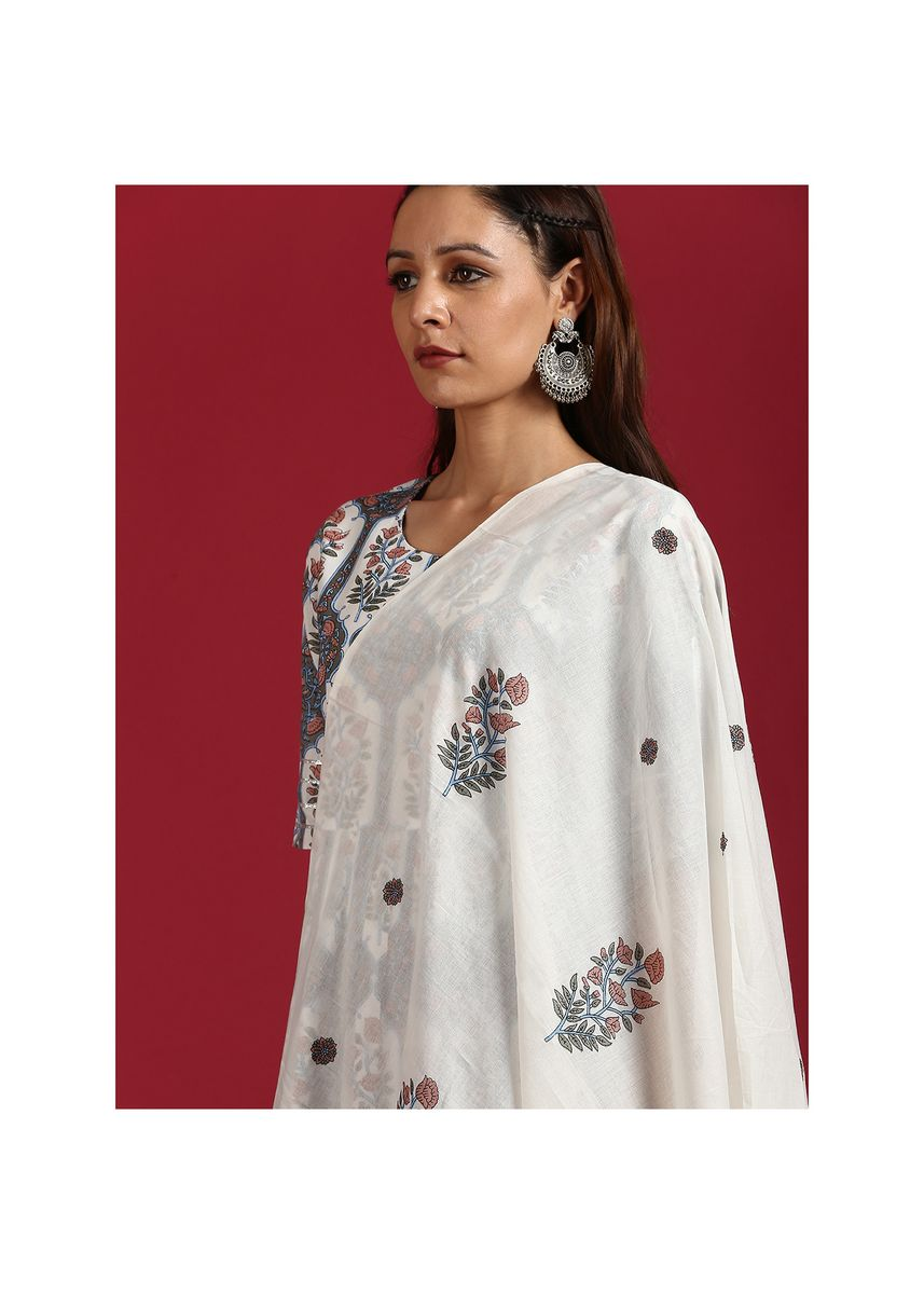White color Salwar Suit . Janasya Women's White Cotton Kurta With Palazzo And Dupatta(SET220) -