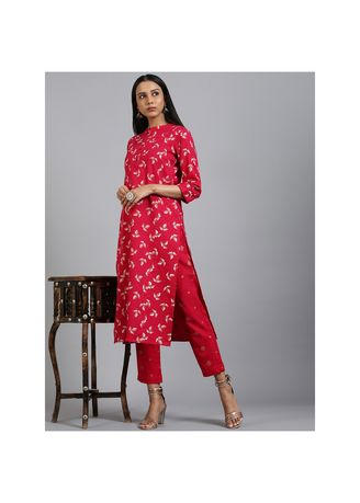 Pink color Salwar Suit . Janasya Women's Pink Cotton Flex Kurta With Pant(SET223) -