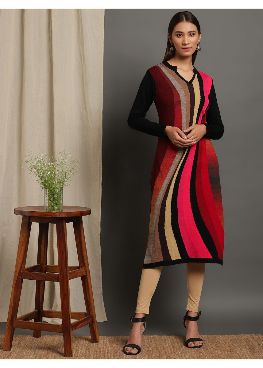 Multi color Kurtas & Kurtis . Janasya Women's Multicolor Woolen Kurta(J0314) -