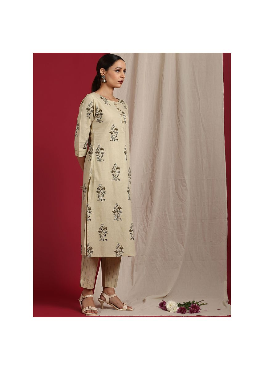 Beige color Salwar Suit . Janasya Women's Beige Cotton Kurta With Pant(SET235) -