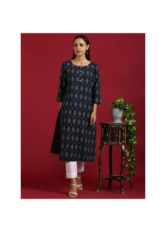 Navy color Kurtas & Kurtis . Janasya Women's Navy Blue Cotton Flex Kurta(JNE3553) -
