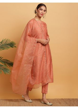 Pink color Salwar Suit . Janasya Women's Peach Poly Muslin Kurta With Pant and Dupatta(J0280) -
