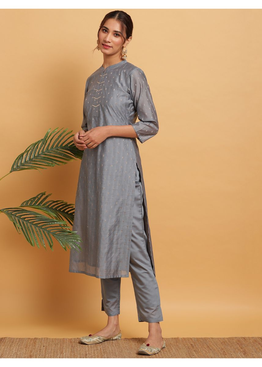 Grey color Salwar Suit . Janasya Women's Grey Poly Muslin Kurta With Pant(J0283) -
