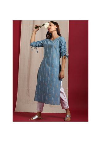 Blue color Kurtas & Kurtis . Janasya Women's Blue Cotton Kurta(JNE3560) -