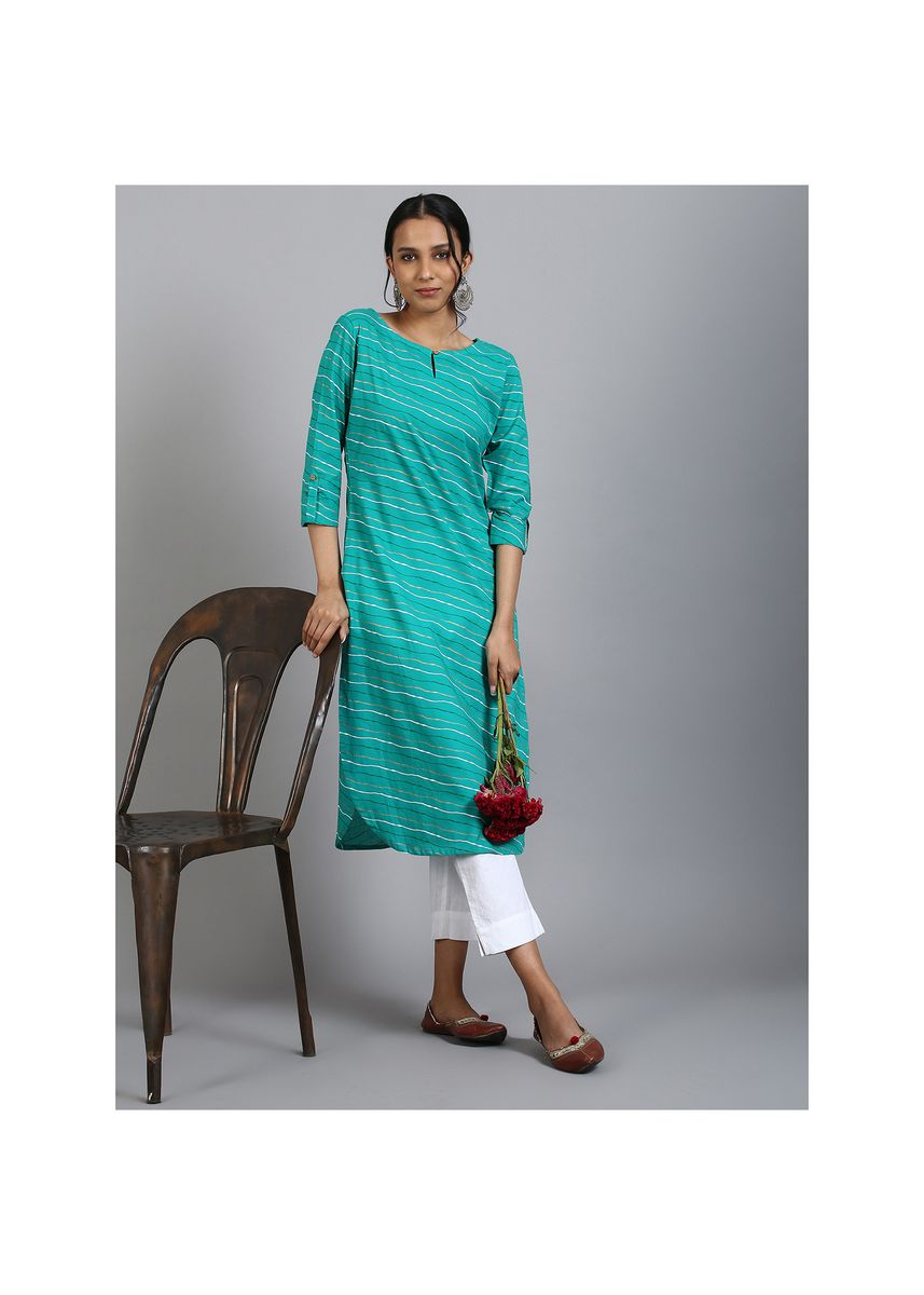 Kurtas & Kurtis . Janasya Women's Sea Green Cotton Kurta(JNE3571) -
