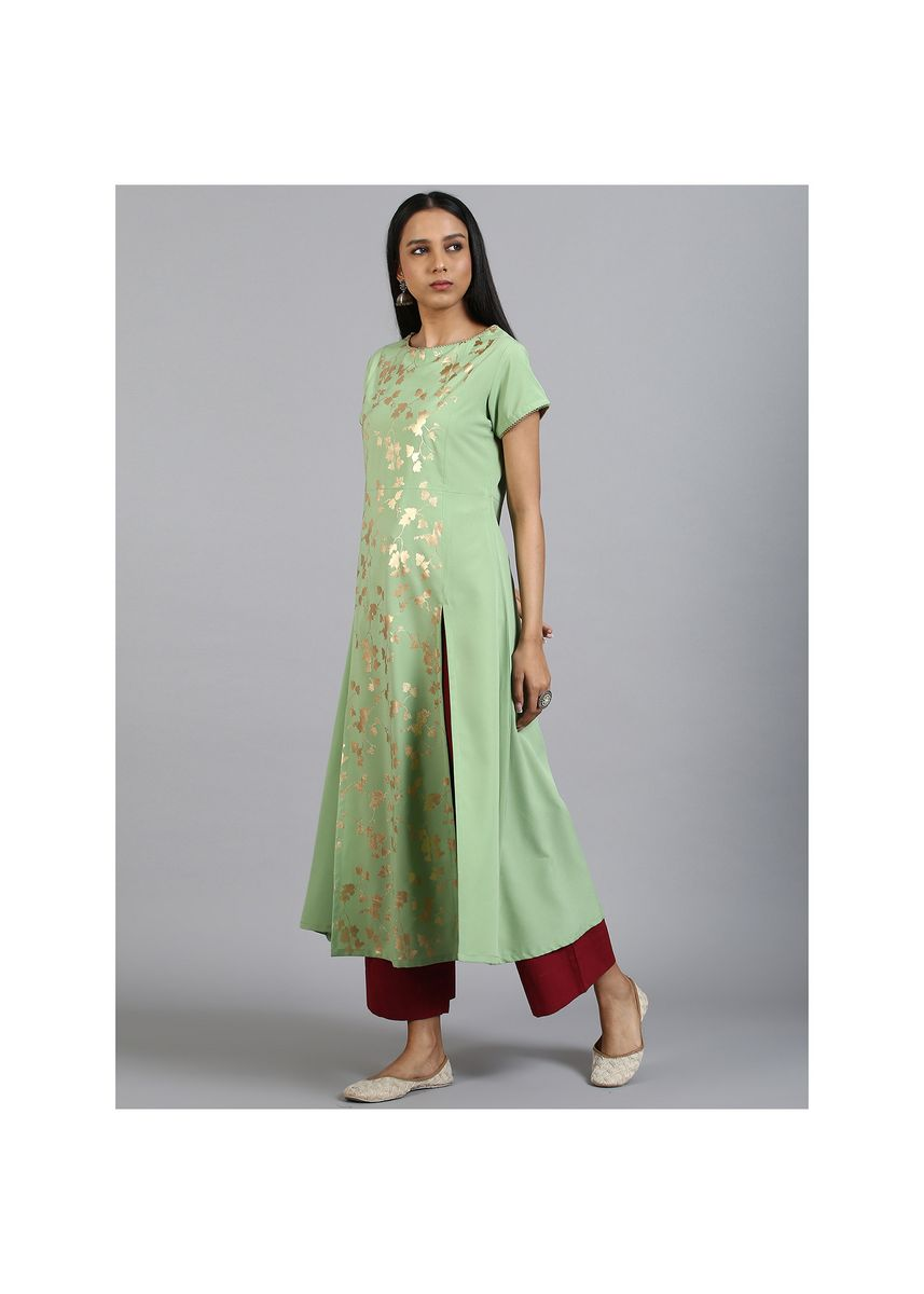 Green color Kurtas & Kurtis . Janasya Women's Light Green Poly Crepe Kurta(JNE3601) -