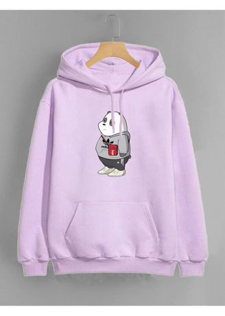 Purple color Outerwear . Jaket Hoodie Vallenca Wanita Lavender We Bare Bears Panda -