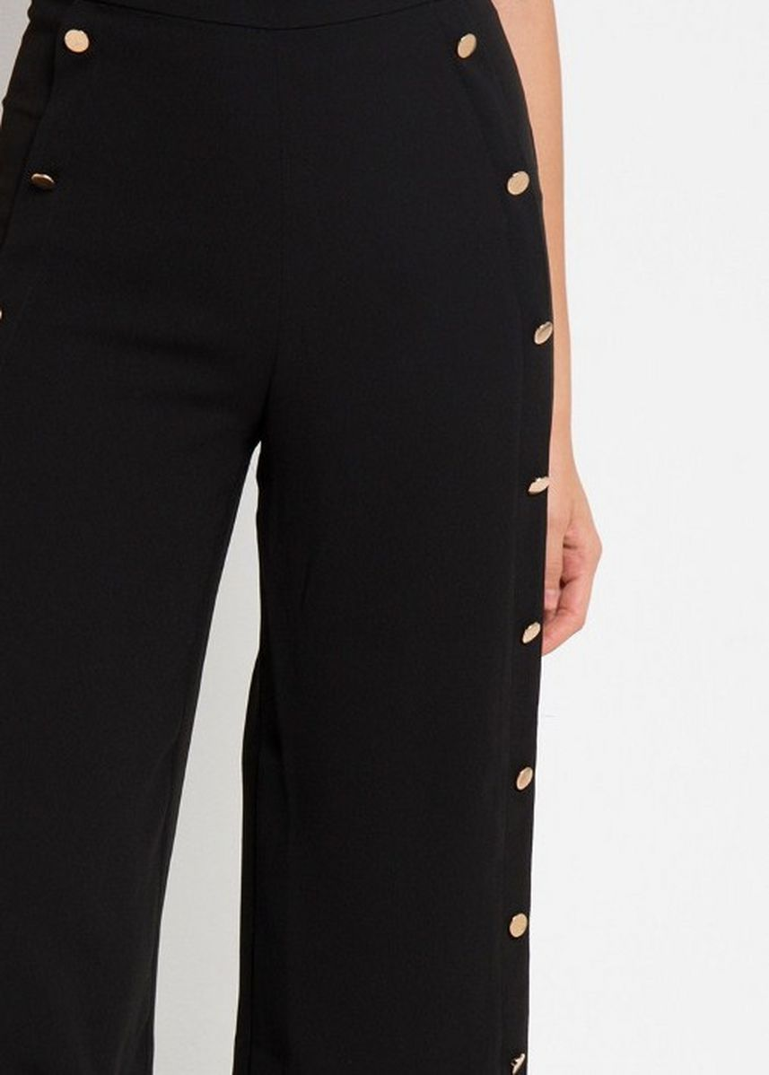 Black color Trousers . EDITION WOMEN ET17 Buttoned Wide leg Trousers -