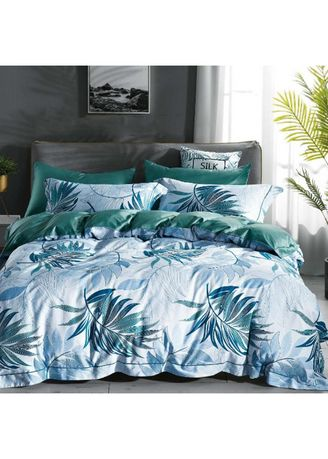 Putih color Kamar Tidur . Sleep Buddy Set Sprei dan Bed Cover Leafy Katun 60s Queen Size -
