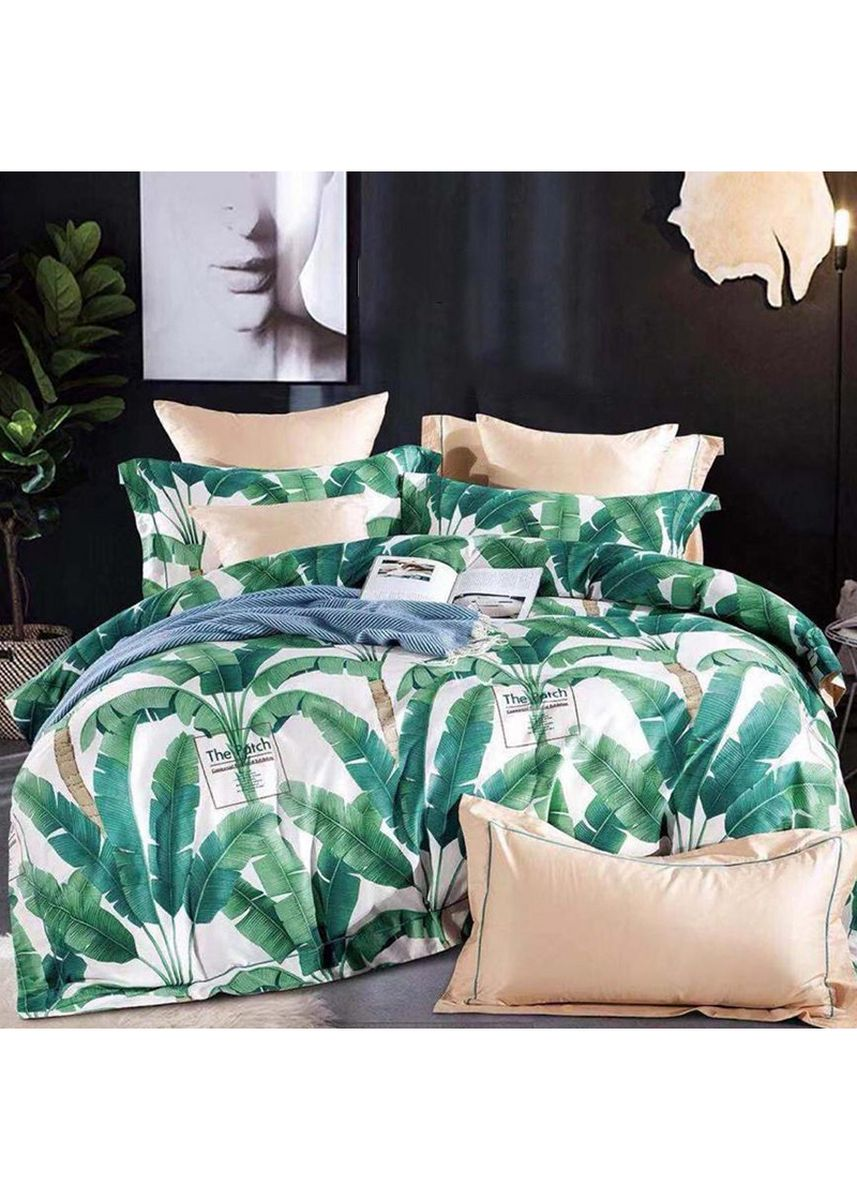 Putih color Kamar Tidur . Sleep Buddy Set Sprei dan Bed Cover Banana Leaf Katun 60s Queen Size -