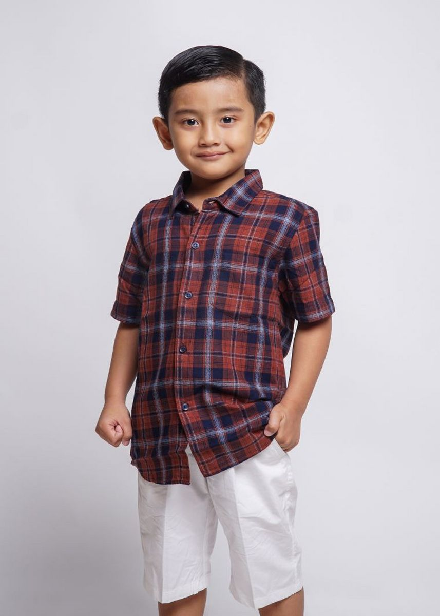Red color Tops . HASSENDA KEMEJA ANAK DANIX -