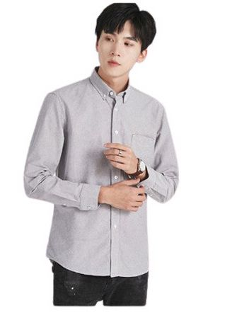 Grey color Formal Shirts . Men's Long-sleeved Oxford Solid Color Cotton Shirt -