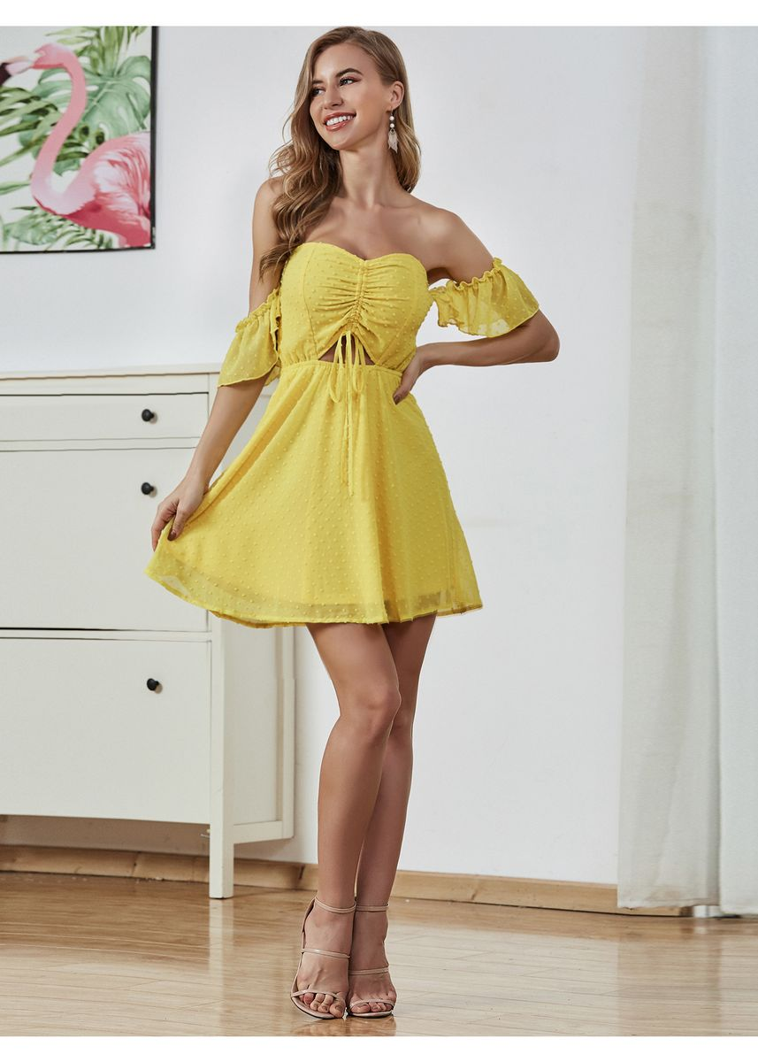 Yellow color Dresses . Double Crazy Off Shoulder Swiss Dot Drawstring Peekaboo Dress -