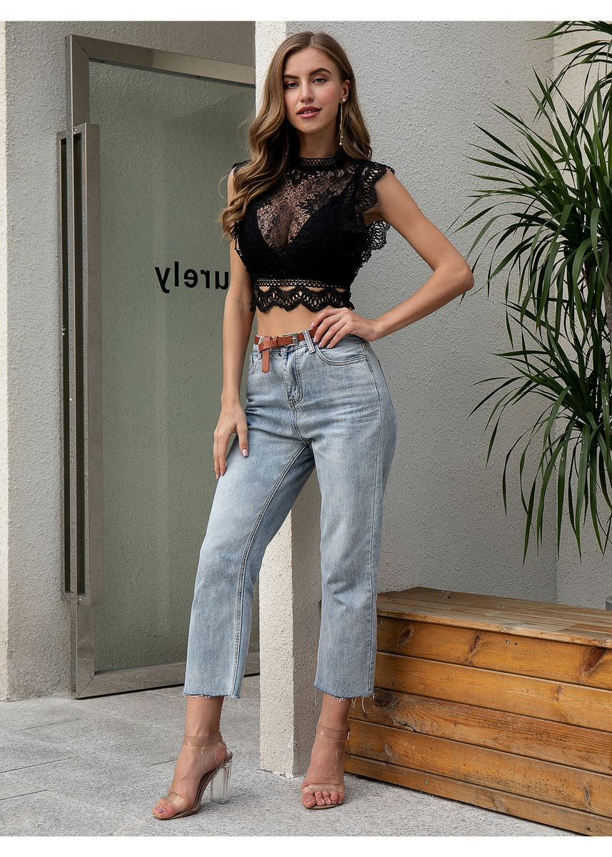 Black color Tops and Tunics . Double Crazy Zip Back Lace Crop Top Without Bra -